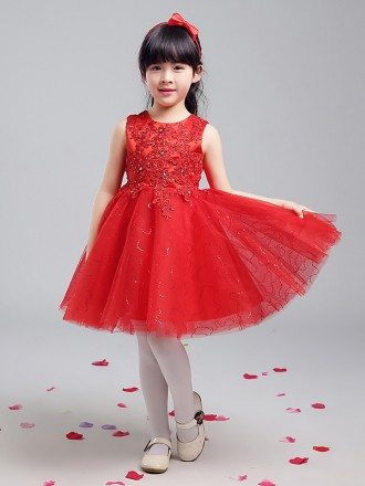Ballroom Short Red Shining Flower Girl Dress with Lace Beaded Bodice