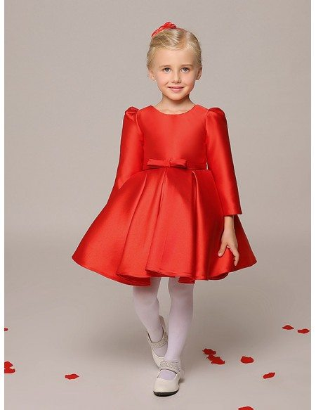 Simple Short Red Taffeta Flower Girl Dress with Long Sleeves