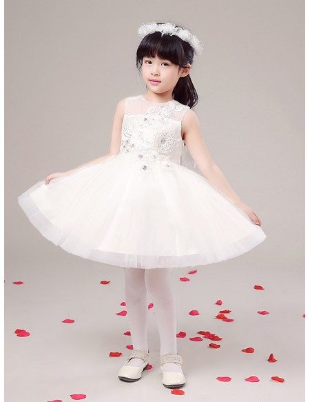 Short Tulle Ball Gown Pageant Dress with Lace Beaded Front