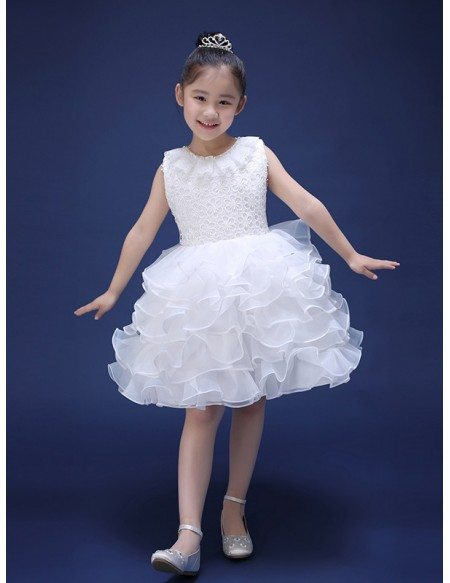 Layered Short Bubble Pageant Dress with Lace Bodice