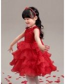 Hot Red Layered Lace Pageant Dress with Crystal Neck