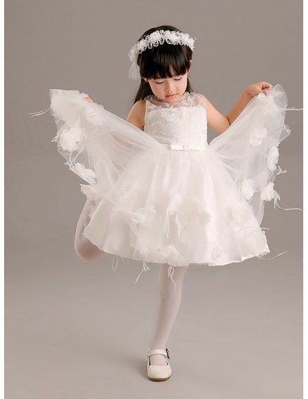 Fairy Tulle Short Floral Pageant Dress with Embroidered Bodice