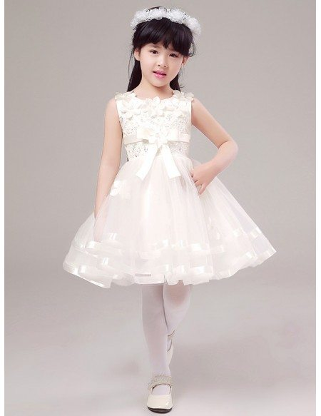 Fairy White Short Lace Beaded Flower Girl Dress with Floral