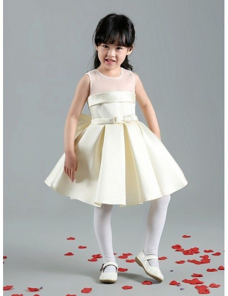 Simple Champagne Satin Flower Girl Dress with Big Bow