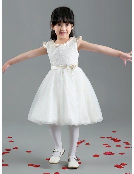 Short Tulle Lace Sash Flower Girl Dress with Collar