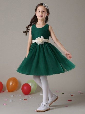 Short A Line Pleated Tulle Hunter Green Flower Girl Dress with Crystal Sash