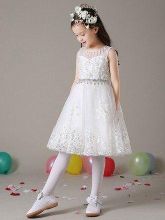 Short White Lace A Line Flower Girl Dress with Diamond Waist