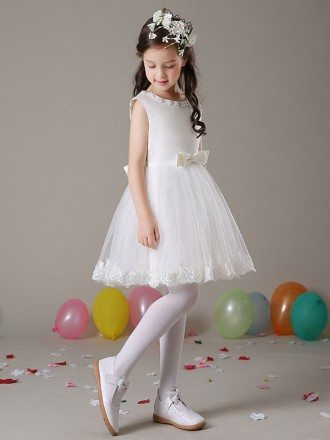 A Line Simple Short Lace Flower Girl Dress with Beaded Neckline