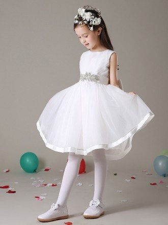 Organza Pleated Short Flower Girl Dress with Crystal Sash