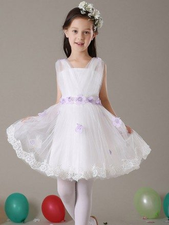 Fairy Tulle Short Floral Flower Girl Dress with Lace Hem