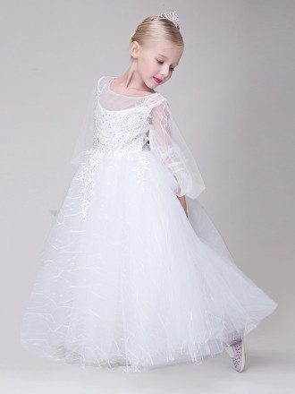 Tulle Fairy Long Lace Beaded Flower Girl Dress with Ball Gown