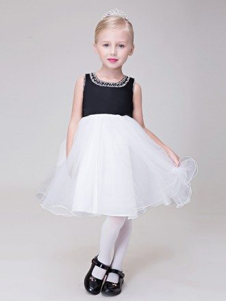 Black and White Organza Short Flower Girl Dress with Beaded Neckline