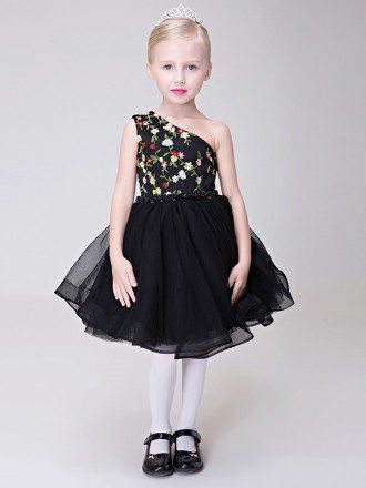 Embroidered One Shoulder Black Pageant Dress with Beading Waist