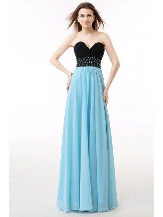 Sweetheart Two-Tone Beaded Empire Waist Long Prom Dress