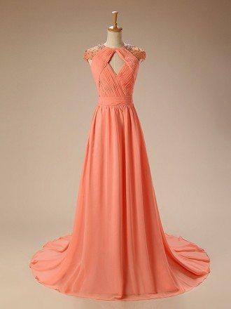 A-Line V-neck Court Train Chiffon Prom Dress With Beading