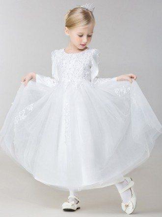 Long Ballroom Satin Tulle Lace Flower Girl Girl Dress with Beaded Sleeves