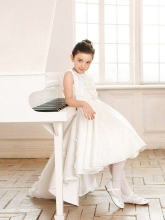Gorgeous Lace Tulle Wedding Flower Girl Dress Short in Front Long in Back