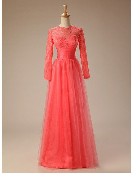 A-line Scoop Neck Floor-Length Tulle Prom Dress With Appliquer Lace