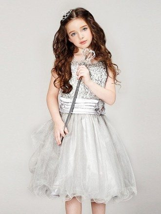 Short Silver Lace Tulle Pageant Dress with V Back