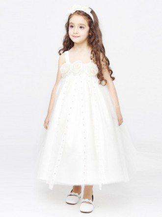 Empire Waist Ball Gown Fairy Flower Girl Dress in Ankle Length