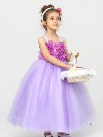 Ball Gown Tulle Lavender Flower Girl Dress with Petals Bodice