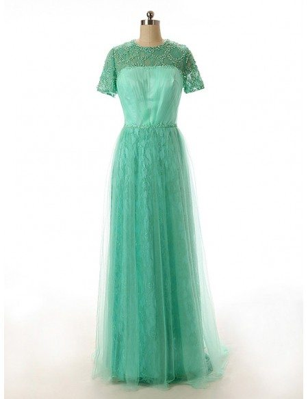 A-line Scoop Neck Floor-Length Tulle Lace Prom Dress With Sequins
