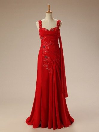 A-line Sweetheart Sweep Train Chiffon Prom Dress With Beading Appliquer Lace