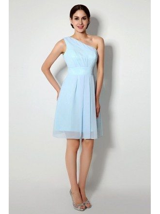 Short One-shoulder Tea-length Dridesmaid Dress