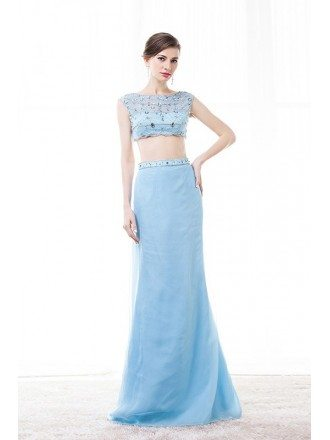Two-Pieces Scoop Neck Floor-Length Tulle Prom Dress With Beading Sequins