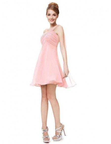 A-line One-shoulder Short Chiffon Pleated Bridesmaid Dress