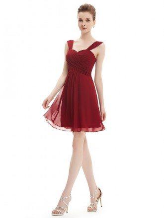 A-line Sweetheart Short Chiffon Bridesmaid Dress With Ruffles