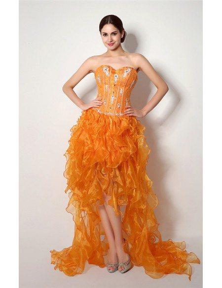 A-line Sweetheart Sweep-train Asymmetrical Prom Dress