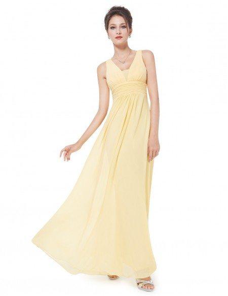 Empire V-neck Floor-length Chiffon Bridesmaid Dress With Ruffles