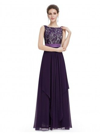 A-line Round Neck Floor-length Evening Dress With Lace