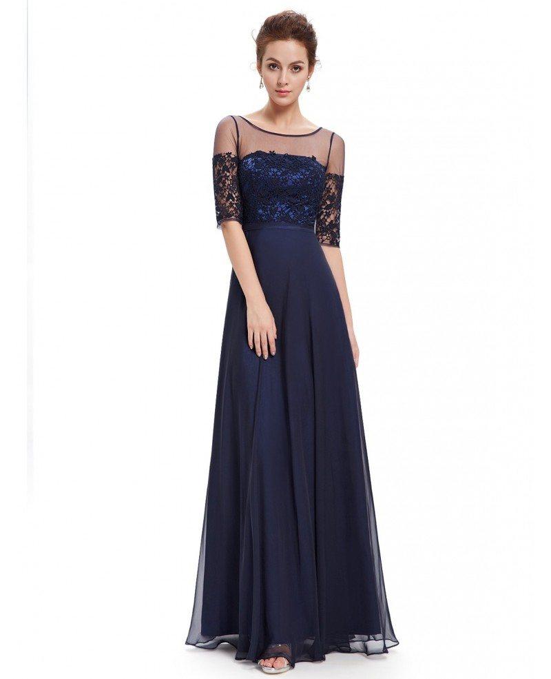 A-line Scoop Neck Floor-length Chiffon Lace Evening Dress ...