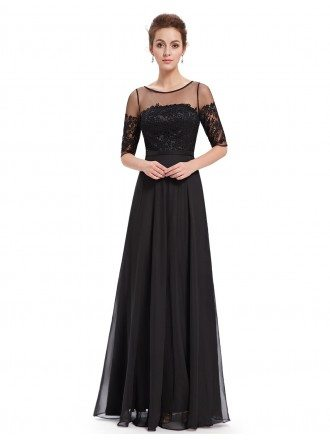 A-line Scoop Neck Floor-length Chiffon Lace Evening Dress With Half Sleeves