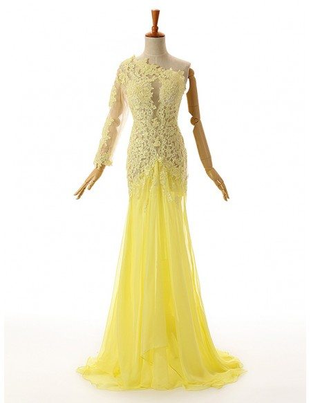 Sheath One Shoulder Sweep Train Chiffon Prom Dress With Appliquer Lace