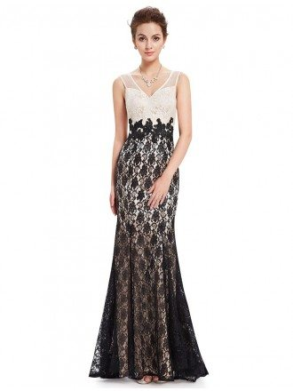 Mermaid V-neck Floor-length Lace Evening Dress With Open Back