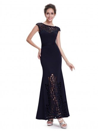 Mermaid Round Neck Long Cut Out Evening Dress With Cap Sleeves