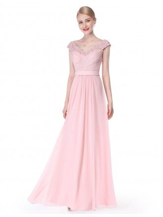 A-line V-neck Floor-length Chiffon Formal Dress With Lace