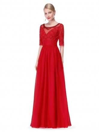 A-line Round Neck Floor-length Chiffon Evening Dress With Beading