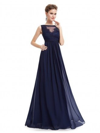 A-line Round Neck Floor-length Chiffon Evening Dress With Lace