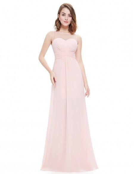 A-line Scoop Neck Floor-length Chiffon Bridesmaid Dress With Ruffles