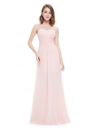 A-line Scoop Neck Floor-length Chiffon Bridesmaid Dress With Ruffles