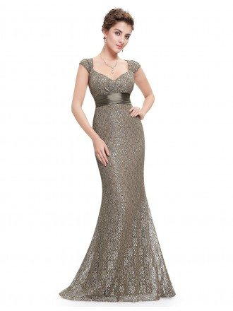 Mermaid V-neck Floor-length Lace Evening Dress With Cap Sleeves
