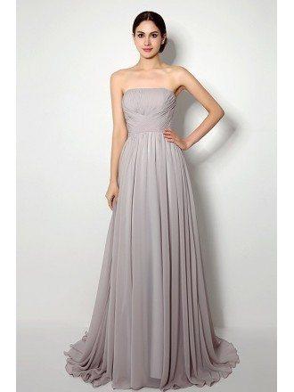A-line Strapless Court-train Bridesmaid Dress
