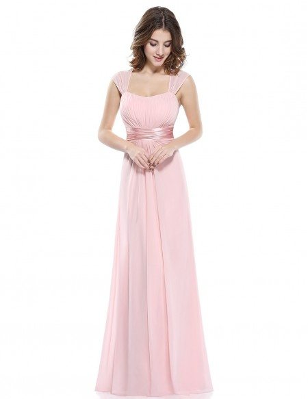 A-line Strapless Chiffon Floor-length Bridesmaid Dress With Cap Sleeves