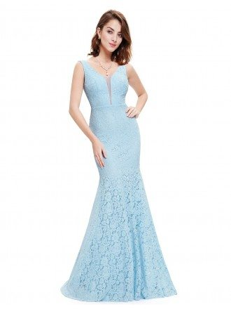 Mermaid V-neck Floor-length Lace Evening Dress