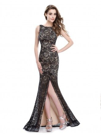 Sexy Mermaid Scoop Neck Floor-length Lace Evening Dress With Split Front