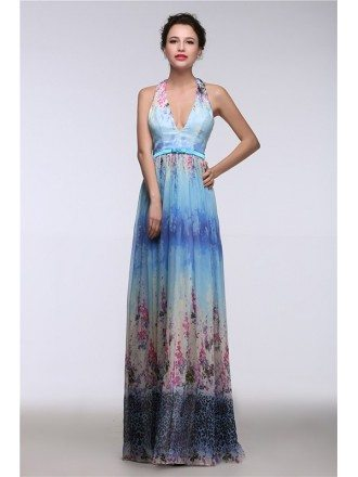 A-Line Halter Floor-Length Chiffon Floral Print Prom Dress